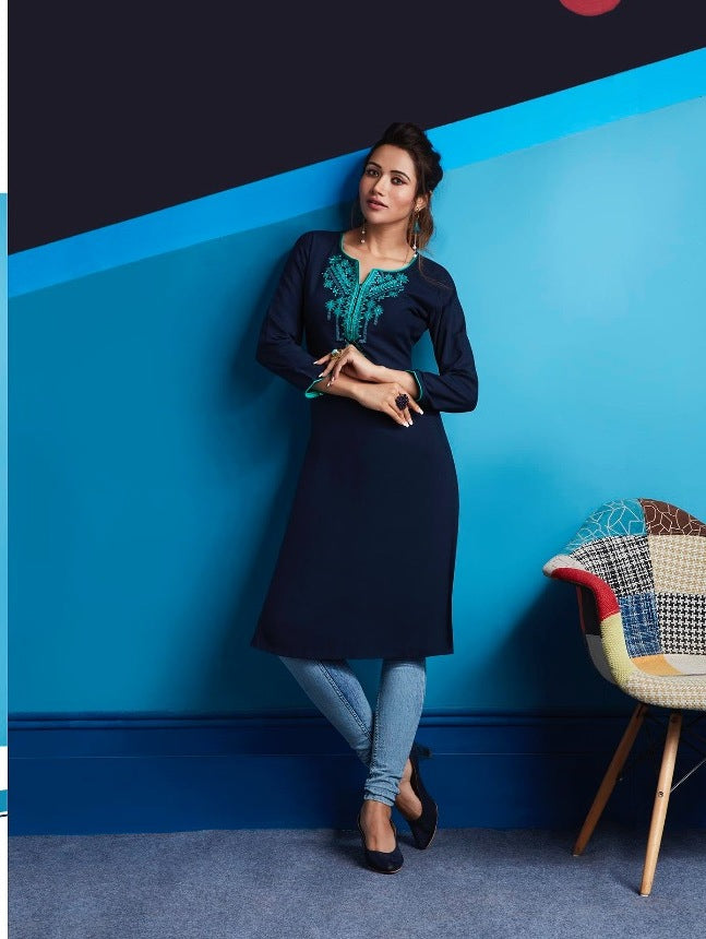 Cute Lily !!! Navy blue Color  embroidered  Rayon  Kurti