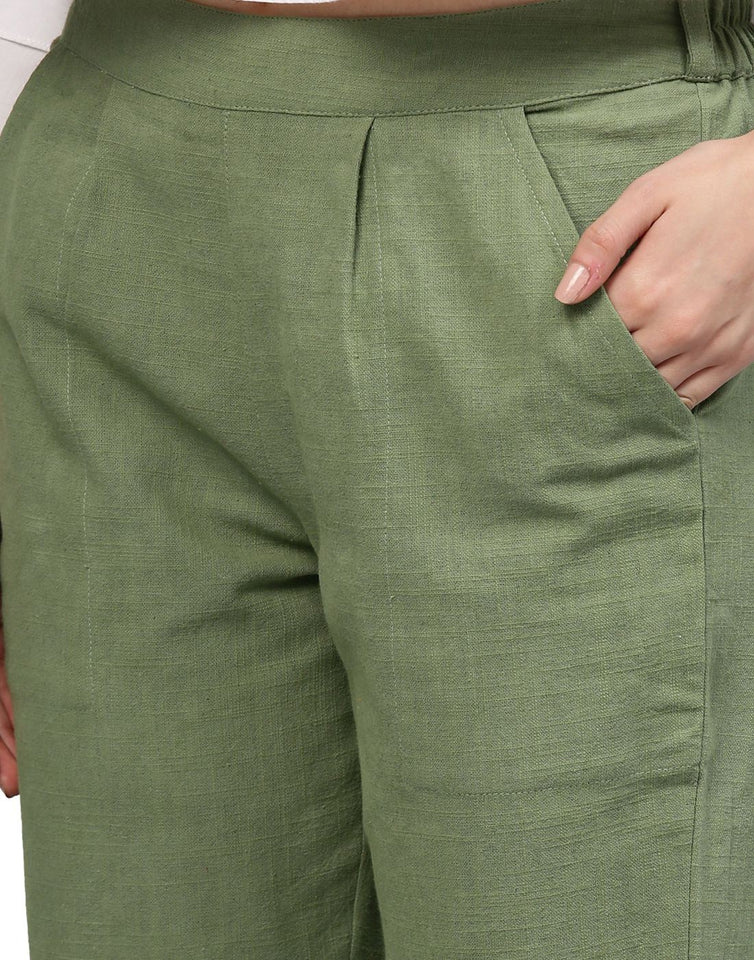 Women's Olive Solid Cotton Slub Pants