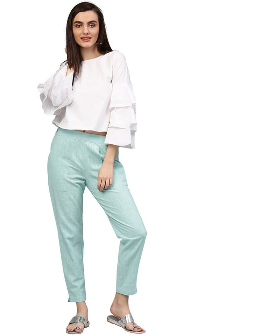 Women's Sky Blue Solid Cotton Slub Pants