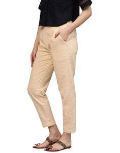 Women's Beige Solid Cotton Slub Pants