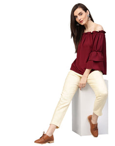 Women's Light Yellow Solid Cotton Slub Pants