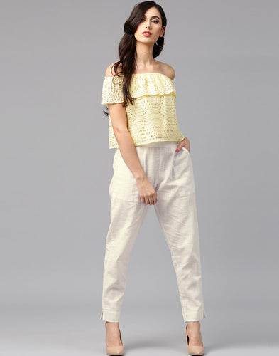 Woman Slub Cotton White Color Solid Pants