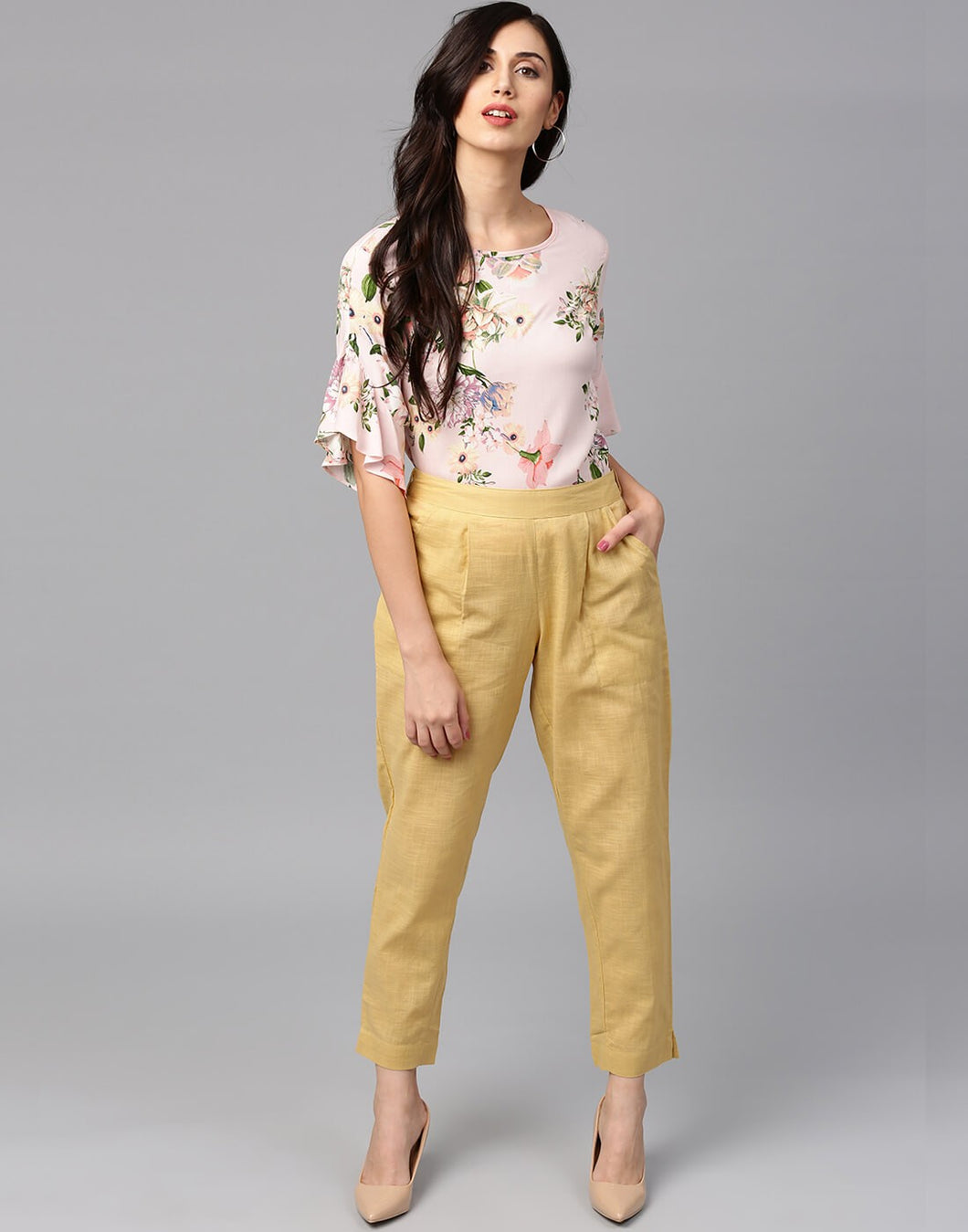 Woman Slub Cotton Cream Color Solid Pants