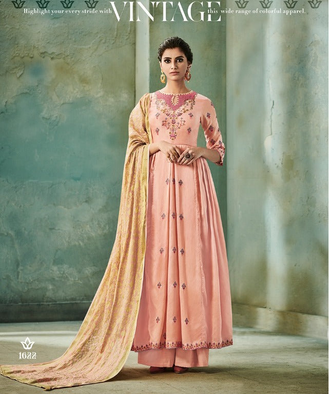 Awesome Suit !!! peach with gold embroidered  Dupatta