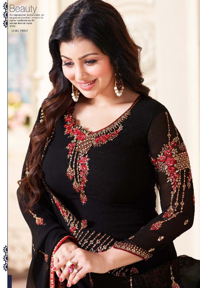 Luxurious Black Color Georgette Embroidery Suit With Heavy Work Dupatta
