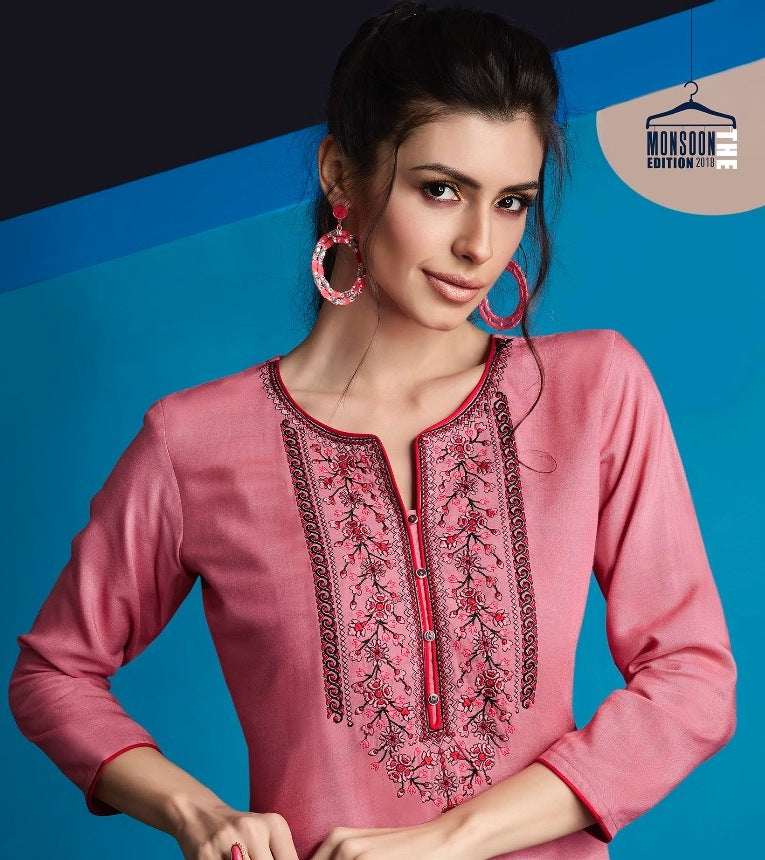 Cute Lily !!! Carrot pink Color  embroidered  Rayon  Kurti