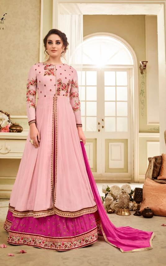Charming Kaia !!! Pink with Magenta  Georgette Embroidery party wear long Suit