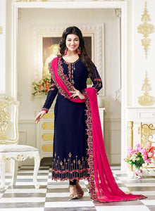 Luxurious Blue Color Georgette Embroidery Suit With Heavy Work Dupatta