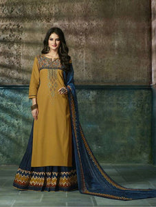 Lovely Belleza !!! Yellow with Navy Blue Color  COTTON PRINTED LEHENGA STYLE KURTI