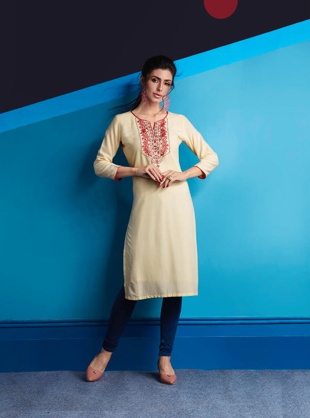 Cute Lily !!! Cream Color  embroidered  Rayon  Kurti