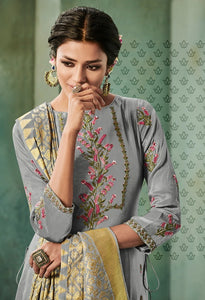 Awesome Suit !!! grey with mustered embroidered Dupatta