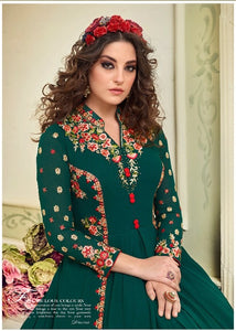 Wonderful Kyra !!! Deep Green  Color Georgette Embroidery party wear long Suit