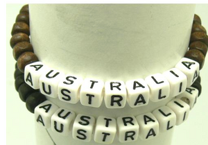 "BL Wood Bead w ""AUSTRALIA' Beads"