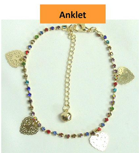 Anklet Multi Diamante with Heart