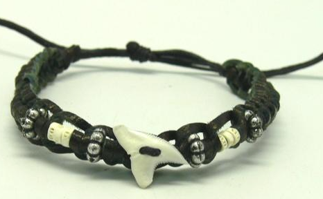 Bracelet leather genuine shark tooth with fish bone