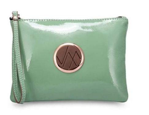 GIA MINT GREEN PATENT GENUINE LEATHER CLUTCH BAG