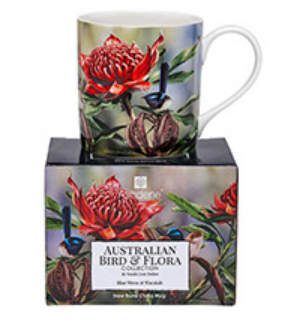 City Mug Blue Wren & Waratah - Australian Bird & Flora Collection