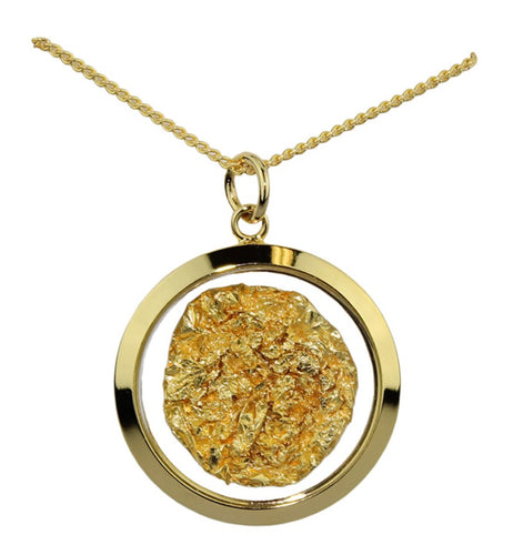 Gold and Glass Large Round Pendant