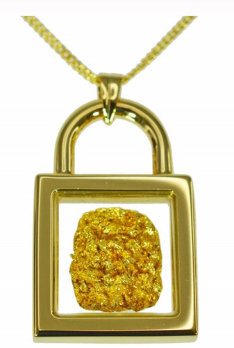 Gold and Glass Lock Pendant