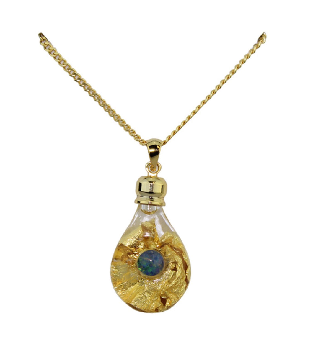 Gold and Glass Pendant With Opal
