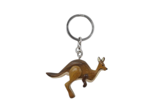 Timber Keyring - Kangaroo Running