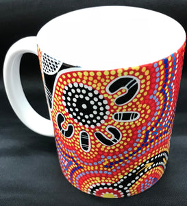 Desert Meeting - Aboriginal Australian Art - Ceramic Mug