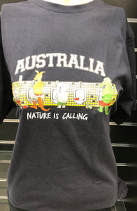 ' Australia Nature Is Calling ' T Shirt -  Black
