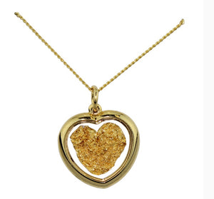 Gold and Glass Heart Necklace Large