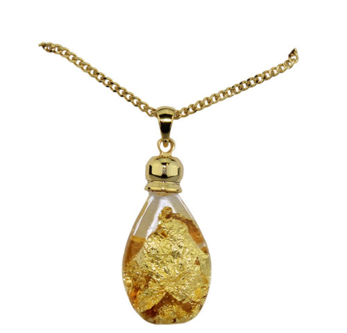 Gold and Glass Pendant Necklace