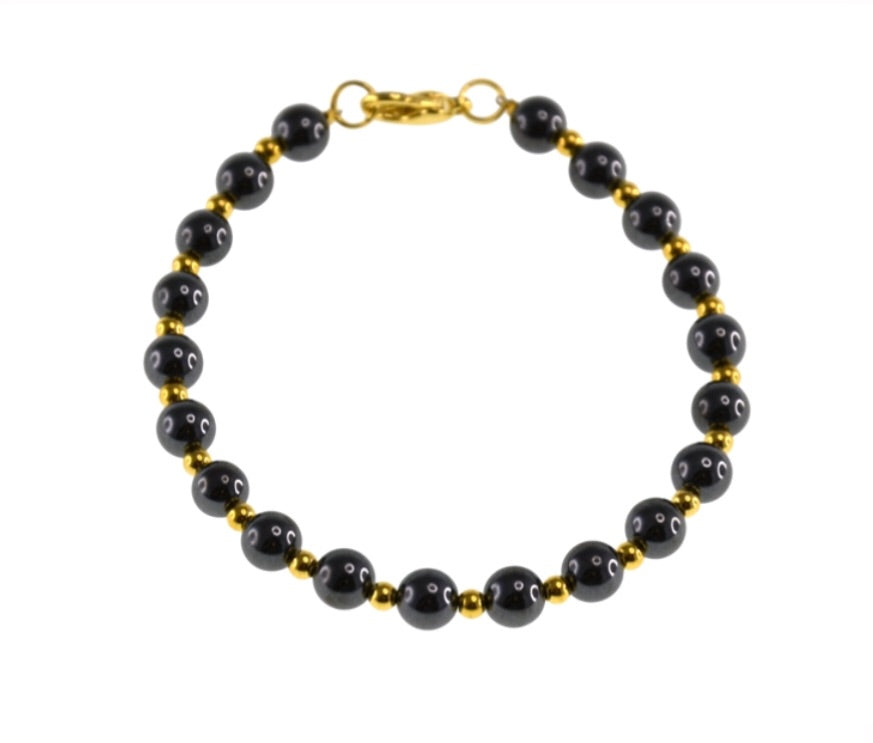 Iron Ore Bracelet With Small Gold Beads