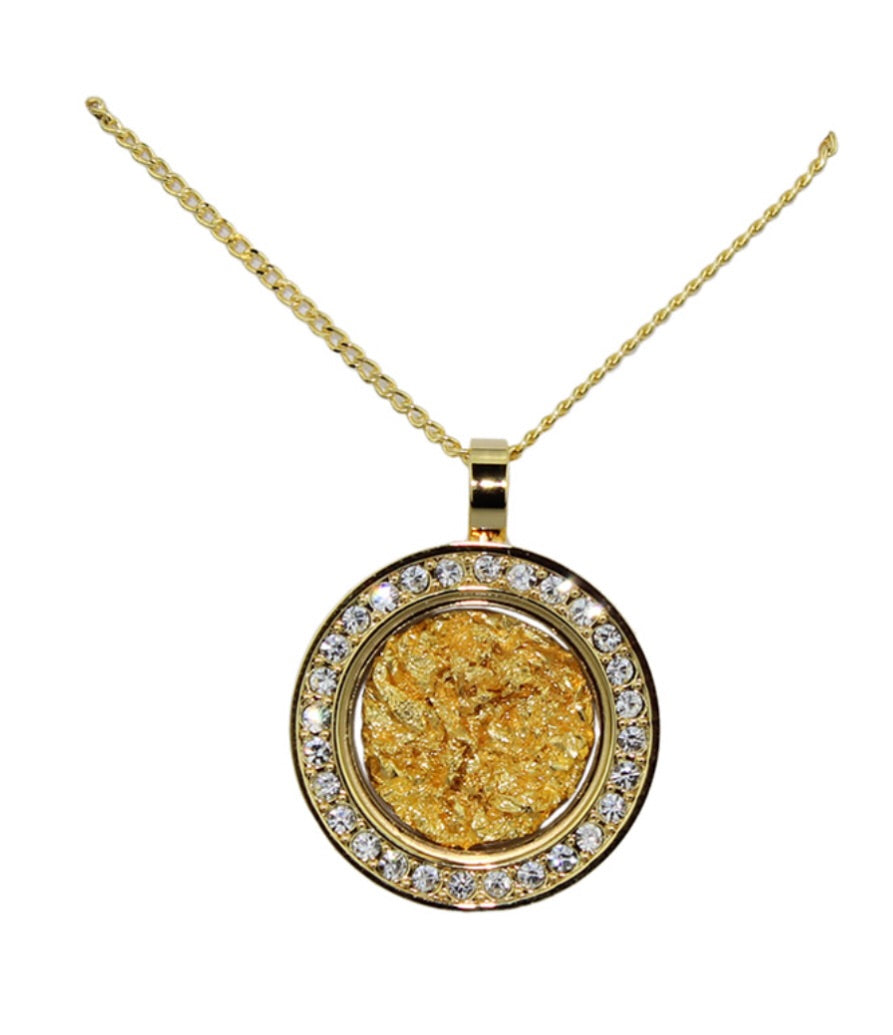 Gold and Glass Diamonte Round Necklace