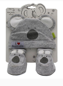 Koala Bootie and Hat Set