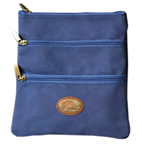 Leather Cross Body Bag - Blue