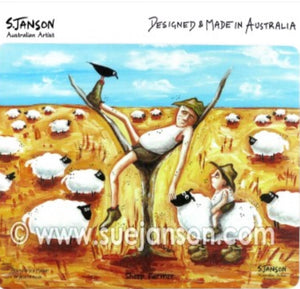 Mousemat - Sheep Farmer - S JANSON- Australian Artist