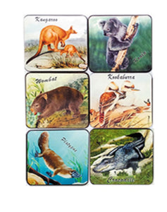 Animals- Set of 6 Coasters - Cork Back