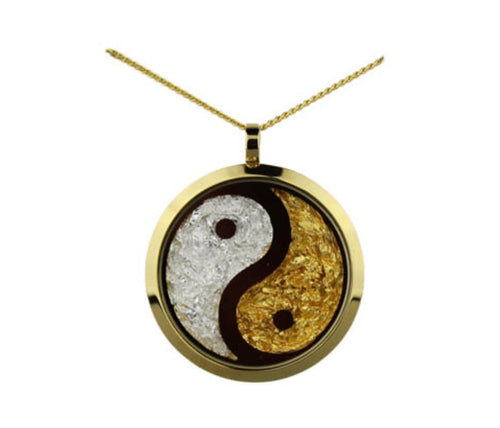 Yin Yang Separated Gold Necklace Large