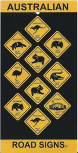AUSTRALIAN ROADSIGNS DESIGN BEACH TOWEL