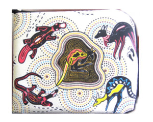 Aboriginal Print With Animals - Foldable Shopping Bag Large