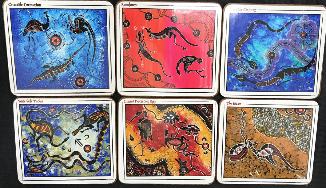 Australian Aboriginal Art - Drink Coaster pk 6 Animals