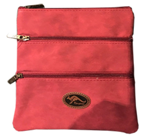 Leather Cross Body Bag - Red