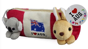 Koala and Kangaroo Red Pencil Case