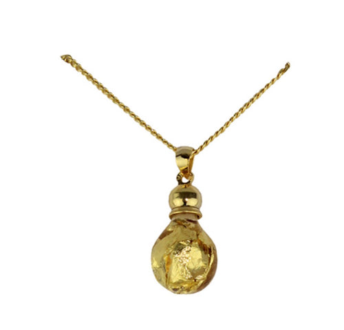 Gold Bulb Shaped Pendant Necklace