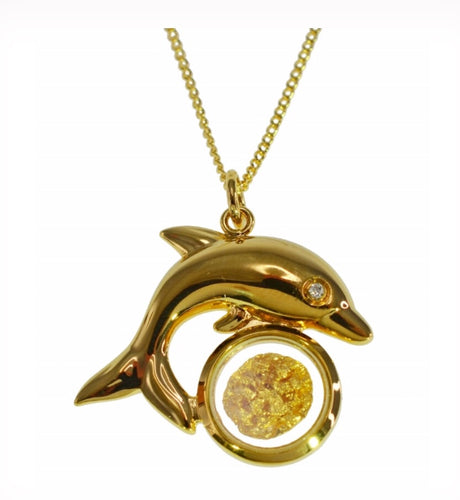 Gold and Glass Dolphin Pendant