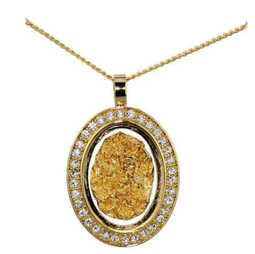 Gold and Glass Diamonte Necklace