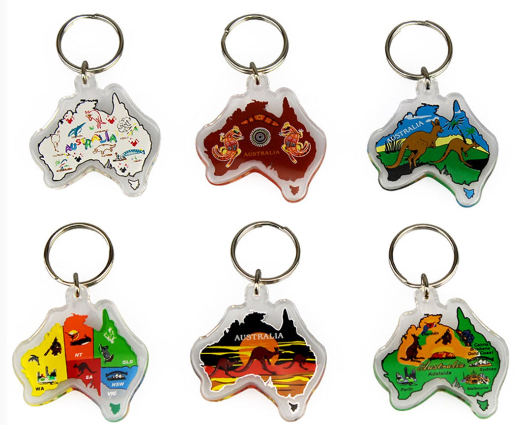 Pack of 6 Australia Map Keyring