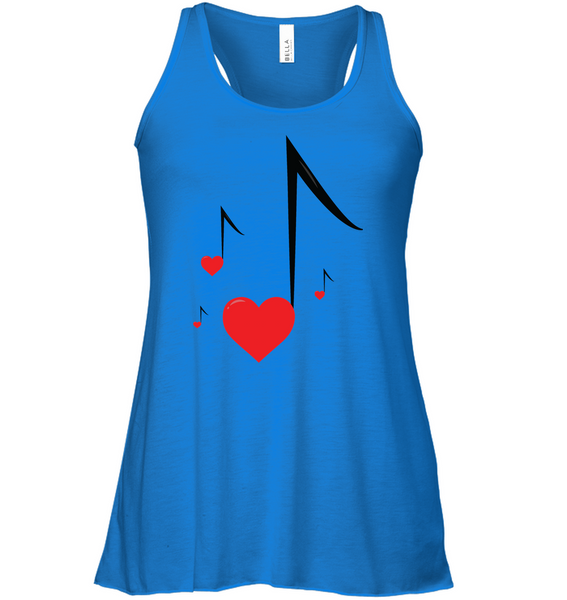 Four Floating Heart Notes  - Bella + Canvas Women's Flowy Racerback Tank