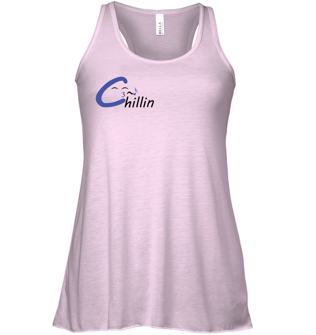 Chillin enjoying music (Pocket Size) - Bella + Canvas Women's Flowy Racerback Tank