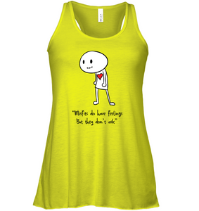 Misfits do have feelings, but they don't ask - Bella + Canvas Women's Flowy Racerback Tank