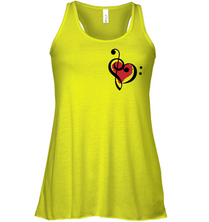 Treble Bass Red Heart (Pocket Size) - Bella + Canvas Women's Flowy Racerback Tank