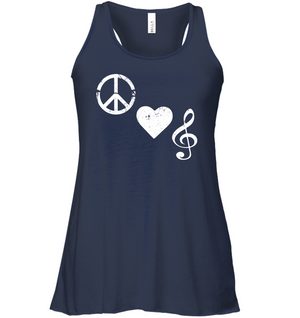 Peace Heart Musical Clef - Bella + Canvas Women's Flowy Racerback Tank